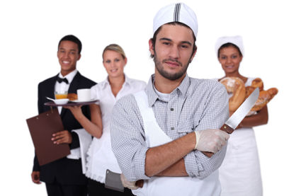 Group of food service workers