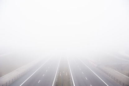 road on foggy day