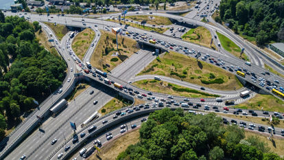 aerial view of expressway junction