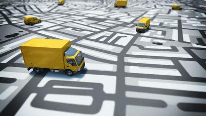 image of trucks on map