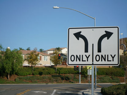 turn sign at intersection
