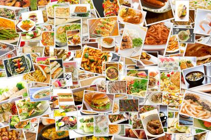 collage of food options