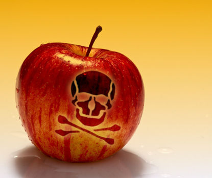 apple with skull and crossbones on skin