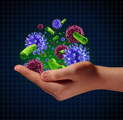 hand holding graphic germs