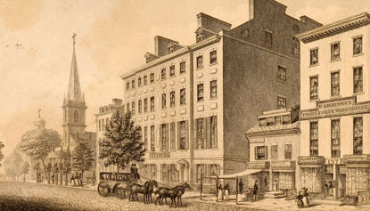 drawing of historical hotel