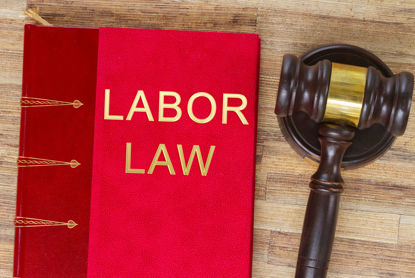 gavel and book labeled Labor Law