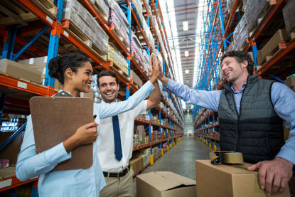 group of people in warehouse