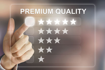 finger pointing to the words premium quality