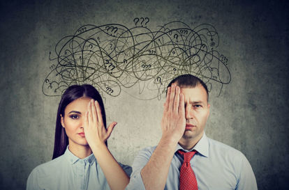 two people each covering an eye and both having question marks over their heads