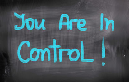 "chalkboard with message ""You are in Control."""