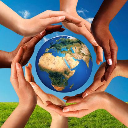 diverse hands surrounding a globe