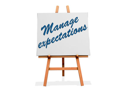 manage expectations sign on an easel