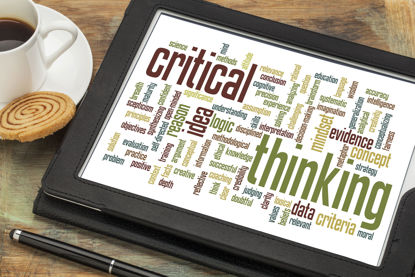 critical thinking word cloud on a tablet