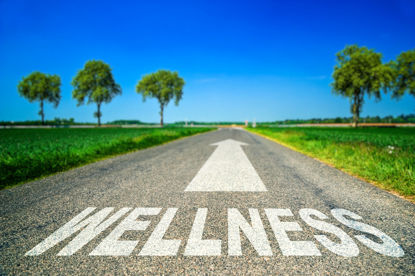 word wellness on a road