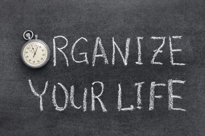 organize your life written on a chalkboard