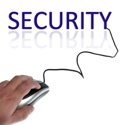 word security with the letter y becoming a corded mouse being used by a person's hand