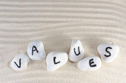 word values painted on rocks