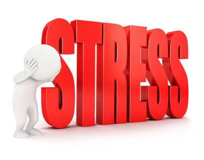 rendered 3d image of a person beside the word stress