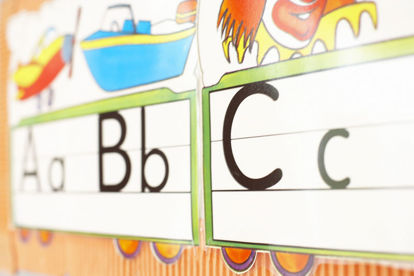 letters A, B, and C in a row