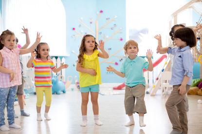 group of children dancing