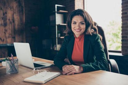 woman behind a desk