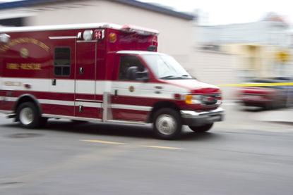 ambulance moving on road