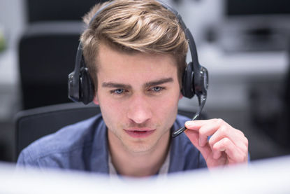 male on headset
