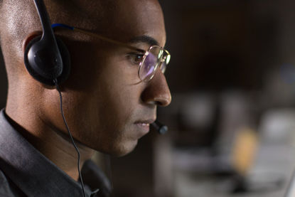 person on headset