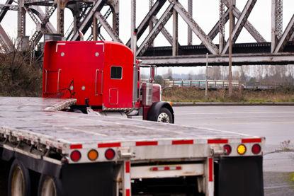 semi truck turning a corner