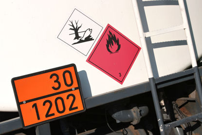 close up of truck with hazardous placards