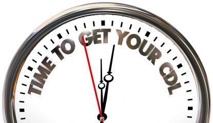 clock with words time to get your cdl