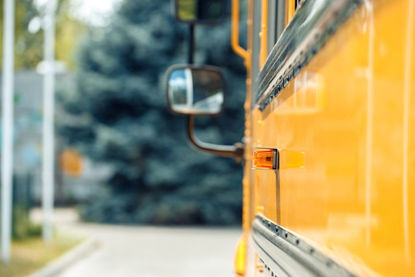side mirror on a school bus