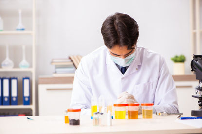 person in lab studying samples