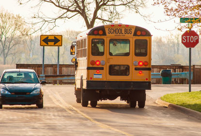 school bus at a stop sign
