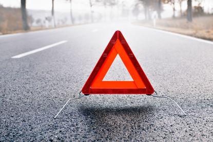 reflective triangle on a street